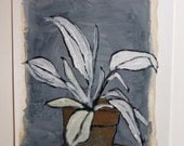 Original still life plant gouache painting on paper / White Plant on Table