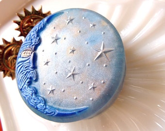 Gold Stars and Blue Moon Soap, Celestial Man in the Moon, Moon & Stars Soap, Blue Man in the Moon, Shimmering Blue Moon