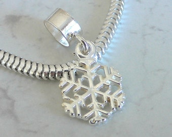 3D SNOWFLAKE Sterling Silver WINTER Charm Fits All Slide On Bracelets