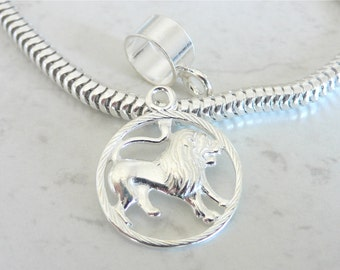 LEO ZODIAC Sterling Silver HOROSCOPE Charm Fits All Slide On Bracelets