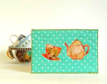 tea time card, tea lovers gift, textile postcard, fiber art card, blank card, teal orange, polka dot