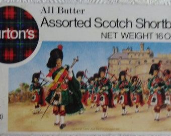 Vintage Advertising Tin - Burton's Tin, All Butter Assorted, Scotch Shortbread, Made in Scotland, Edinburgh Castle, Pipe Band, Noel Syers