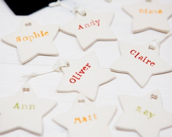 Personalized Christmas Decorations Set of 5 Ceramic Stars