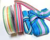 Grosgrain Ribbon Mix - Assortment 5/8 and 2 inches 3 yards each - total of 12 yards blue red pink purple yellow green rainbow