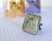 romance ring, girl, pastel green yellow,1,1'' inch free shipping, square ring, romantic look