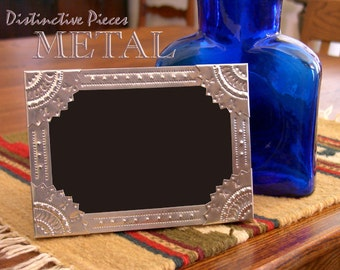 """Metal Picture Frame - Multi Points - Hand Punched Metalwork, 5 x 7"""" New Mexico Tinwork Style Photo Frame, Southwestern Home Decor, FM0507-R"""
