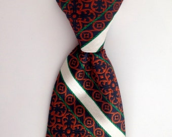Vintage Polka Dot Tie - 1960s Orange, White, Blue, Green Clip-On Tie