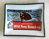 Vintage Pony Swim and Pony Souvenir Glass Dish Chincoteague Virginia