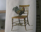 Rooster on Chair  Tea Stained Flour Sack Towel Tea Towel Farmhouse Kitchen Towel