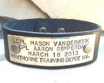 military bracelet, airforce, marines, army, coast gaurd, army reserves, firefighter, police, law enforcement, personalized leather