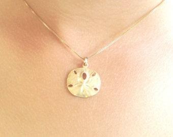 sand dollar necklace, beach necklace, hawaiian jewelry, gold sand dollar, sterling sand dollar, beach wedding, nautical, ocean
