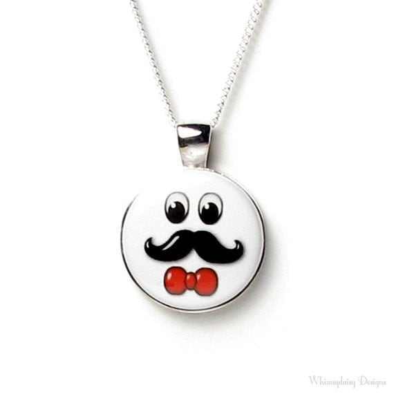 Black Handle Bar Mustache Man Red Bow Tie Magnetic Button Necklace Silver Pendant