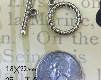 Toggle Clasp Pewter 18mm (F299)  5 sets