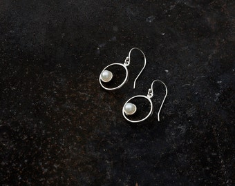 1 Circle with Pearl Earrings, Sterling Silver -handmade-