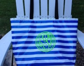 Large Tote Bag/ Striped Bag/ Blue Bag/ Monogrammed Tote Bag/ Waterproof Tote Bag/ Oilcloth Bag/ Nautical Bag / Bridal Party Gift/Teacher Bag