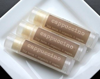 VACATION SALE  CAPPUCCINO  Organic Lip Balm, Vegan Lip Balm .15oz