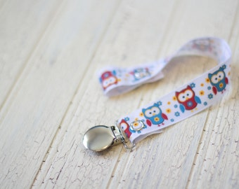 pacifier clips, owl soother clip, red owl pacifier clip, baby girl soother clip, paci clip, Baby gift, , soother holder,