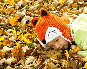 Fox Crochet Earflap Hat -- Newborn, Baby, Toddler, Child Sizes - MADE TO ORDER - Welcome, Woodland Animal, Forest Creature winter hat