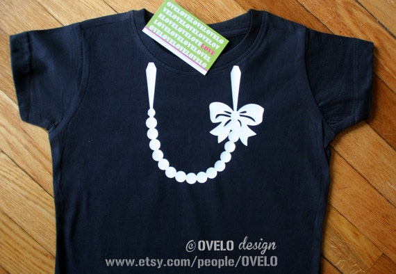Necklace with Pearls and Bow T-shirt for Girls Pictured in Black with White Necklace