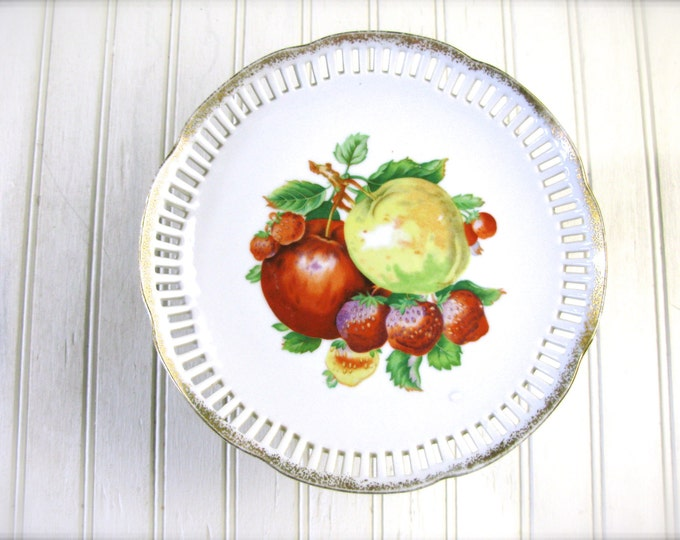 Vintage Pedestal Plate Decorated with Fruit,  Pierced and Gilded Gold Edge circa 1940's or 1950's