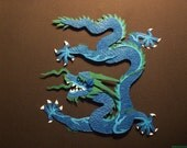 3-D Handcut Paper Imperial Dragon in Shadowbox Frame 10x10