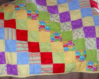 Colorful Baby Blanket made with flannels, soft