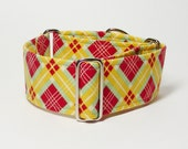 2 Inch Martingale, Red and Yellow Plaid, Sighthound Collar, Greyhound Martingale, Whippet Collar - GramaryeCottage