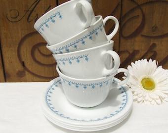 4 Snowflake Blue Corelle Cup & Saucer Snow Flake Vintage Centura Livingware by Corning - #3001