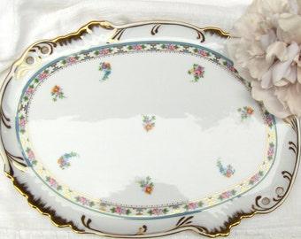 Vintage China Serving Platter White w/ Pink & Blue Floral Gold Gilt Trim -#3489