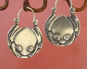Tree Frog Hoop Earrings - tribal - sterling silver
