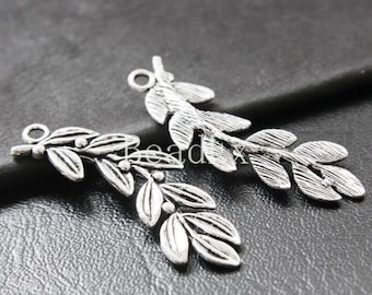 8pcs / Leaf / Oxidized Silver Tone / Base Metal / Charm (YA16156//E147)
