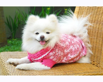 Pink Dog Dress Cute Pet Clothing XXS Teacup Dog Clothes Chihuahua Clothes Cat Kitten Handmade Crochet Cotton DK836 by Myknitt Free Shipping
