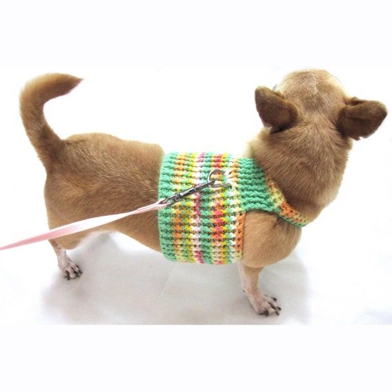 Free Crochet Pattern For Dog Harness : Dog Harness XXS Dog Clothes Yellow Lime Cotton Crochet Pet