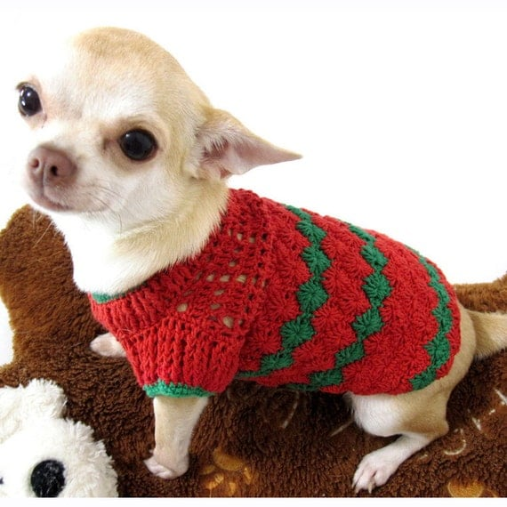 items similar to christmas dog clothes crochet pet clothing handmade puppy sweaters red green. Black Bedroom Furniture Sets. Home Design Ideas