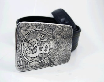 Om Belt Buckle - Etched Stainless Steel - Handmade