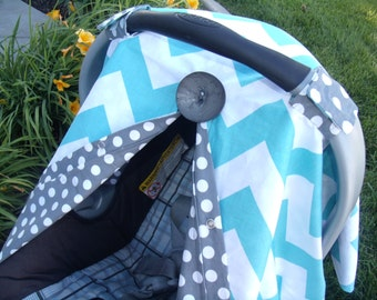 Carseat Canopy Light BLue Chevron Dot FREESHIPPING Code