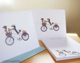 Note Cards and Personalized Notepad Set - Dachshunds on Bicycle  (10 cards, 1 notepad)