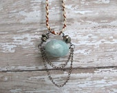 Raw Aquamarine Draped Chain and Pearls/ Chain and Cotton Hemp Cord necklace