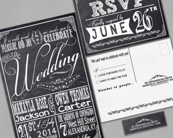 Chalkboard Wedding Invitations - with RSVP cards and address labels - Retro Typography