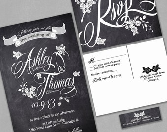 Chalkboard Wedding Invitations with RSVP cards and address labels, Vintage Roses, Black and White, Set of 100