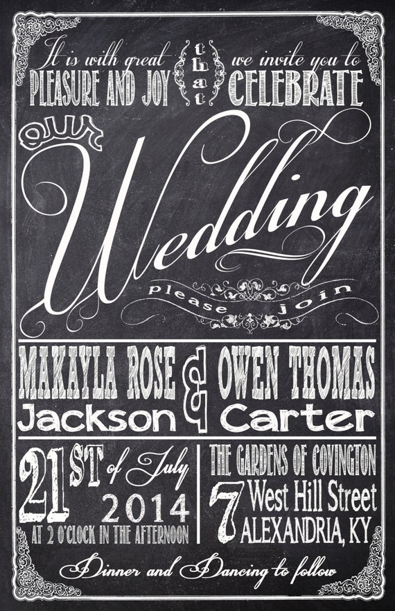 Chalkboard Wedding Invitations With Rsvp Cards And Address