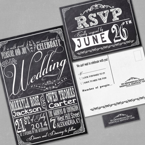 chalkboard wedding invitations with rsvp cards and address,