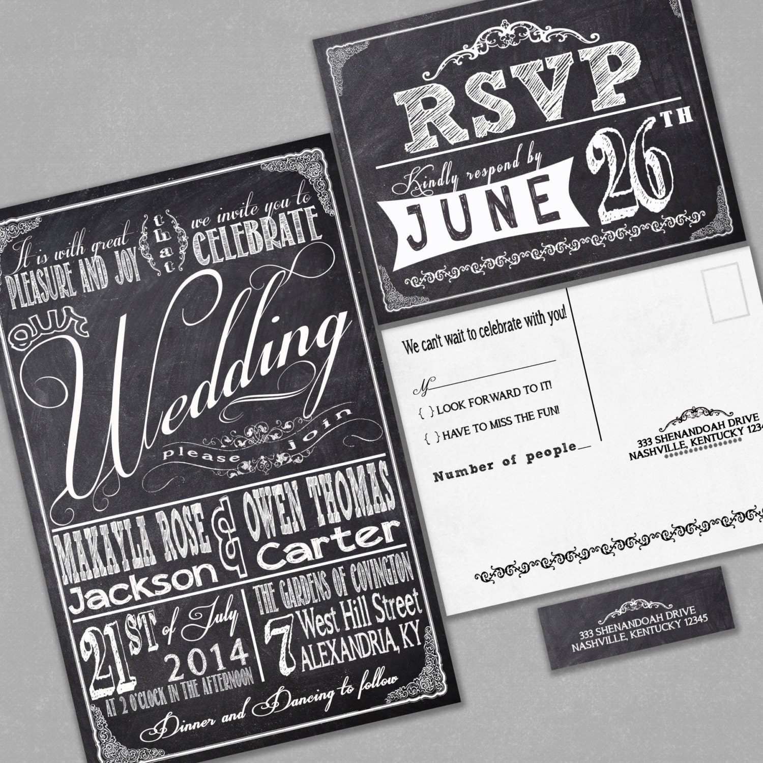Wedding Invitation Response Cards: Chalkboard Wedding Invitations With RSVP Cards And Address