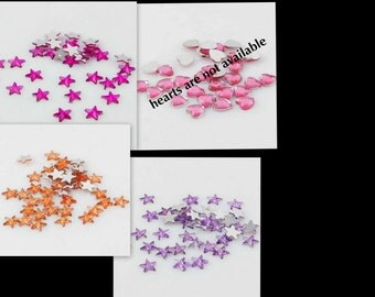 45 Flatback Stars ... Mix of 3 colors ... add glue and apply to your creation ... cabochons / the color is one sided