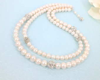Rania - Freshwater Pearl and Rhinestone Bridal Necklace
