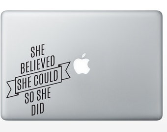 BLACK She Believed She Could So She Did Decal - Ready To Ship Sale - 30% off