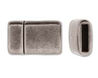Flat Leather Magnetic Clasp - 10mm Antique Silver Plated Clasp for Flat Leather - 1 Clasp - Professional Style  Clasp