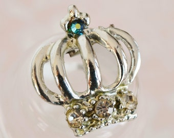 Vintage Silver Crown Brooch