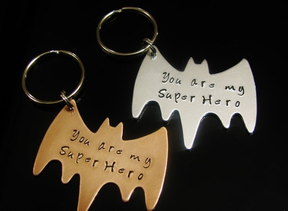 Fathers Day Gift for Dad Superhero You are my super hero Hand Stamped Copper Bat Man Batman Key Chain  Magnet Key Fob Brother Grandpa Friend