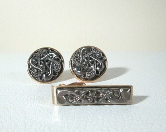 Vintage Marcasite Cuff Links Tie Tack Set Pewter and Gold Men's Jewelry